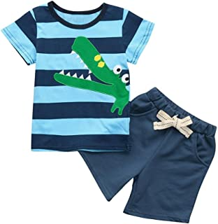 Bebe 1-6 años Verano Conjuntos Dibujos Animados de cocodrilo Animal Camiseta Manga Corta y Pantalones Cortos de Cuadros