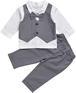 TJTJXRXR Infant and Toddler Baby Boy Gentleman Formal Party Wedding Suits Outfits