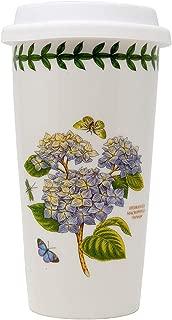 Portmeirion Botanic Garden Travel Mug Cup with Silicone Lid, 15 oz., Hydrangea