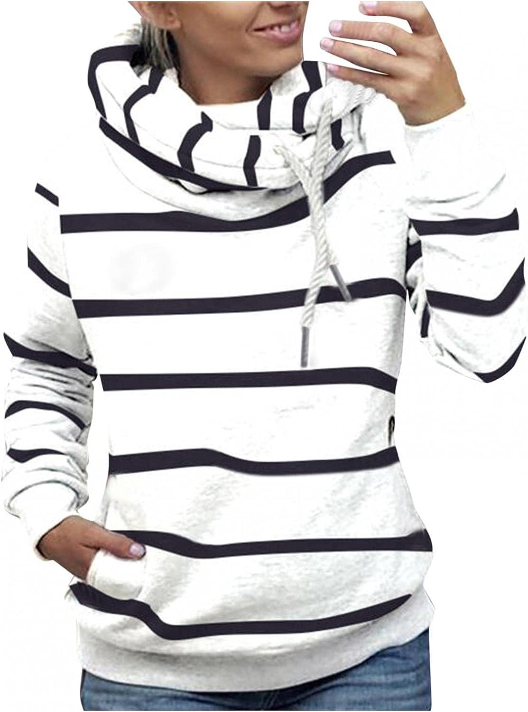 Womens Hoodies, Hoodies Sweatshirt Drawstring 2021 Tops Hoodie Pullover Jumper Pullover Cowl Neck Blouses