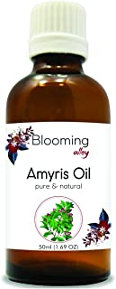 Amyris (Amyris balsamifera) Therapeutic Essential Oil Amber Bottle 100% Natural Uncut Undiluted Pure Cold Pressed Aromatherapy Premium Oil - 50ML