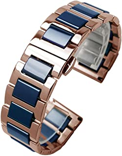 Luxury Ceramic Watch Band Replacement Stainless Steel Watch Bracelet Deployment Clasp Metal Watch Strap All Links Removable 6 Colors for Men Women 14mm, 16mm, 18mm, 20mm or 22mm