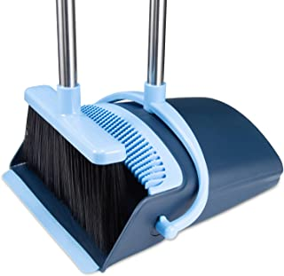 Broom and Dustpan Set 2019 Outdoor Or Indoor Broom Dust Pan 3 Foot Angle Heavy Push Combo Upright Long Handle for Kids Garden Pet Dog Hair Lobby Wood Floor Sweeping Kitchen House (Broom Blue)