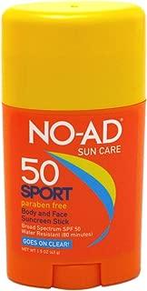 NO-AD Sport Sun Care Body and Face Stick SPF 50 1.5 oz