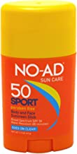 NO-AD Sport Sun Care Body and Face Stick SPF 50 1.5 oz (Pack of 3)