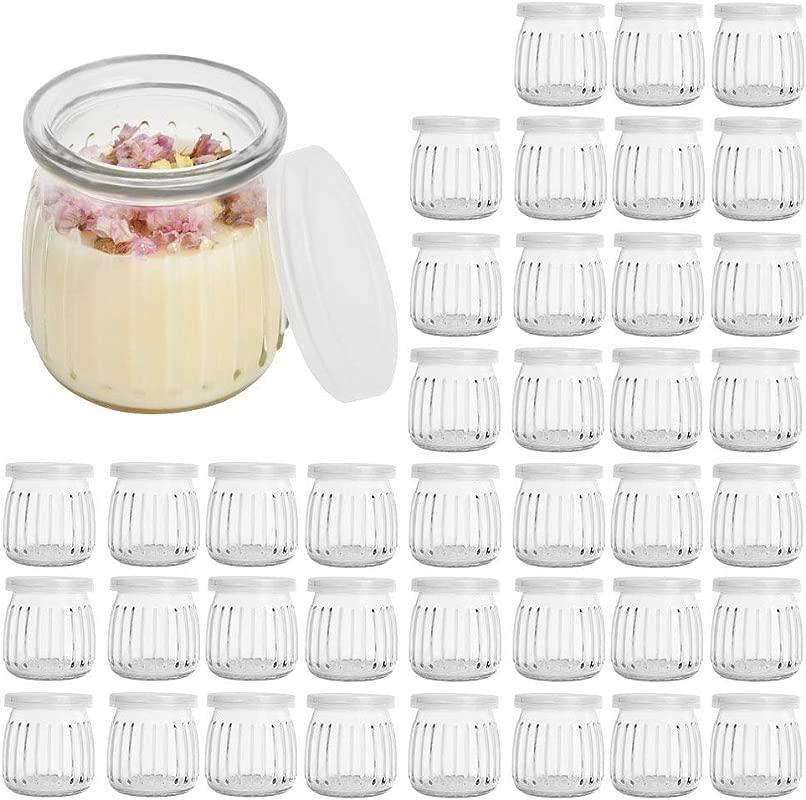 Betrome 7 OZ Glass Jar 40 Pack Yogurt Pudding Jars With PE Lids For Milk Jam Mousse Yogurt Honey Baby Foods Wedding Favors Shower Favors 200 ML