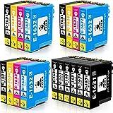 feier 16XL Cartuchos de Tinta Compatible para Epson 16 16XL para Epson Workforce WF-2630WF WF-2750DWF WF-2510WF WF-2650DWF WF-2010W WF-2520NF WF-2530WF WF-2540WF (9 Negro,3 Cian,3 Magenta,3 Amarillo)