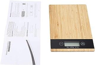 ZCY Báscula de Peso con Pantalla LED de bambú, báscula de Cocina eléctrica, báscula para cocinar, iluminación de Fondo, báscula electrónica para el hogar