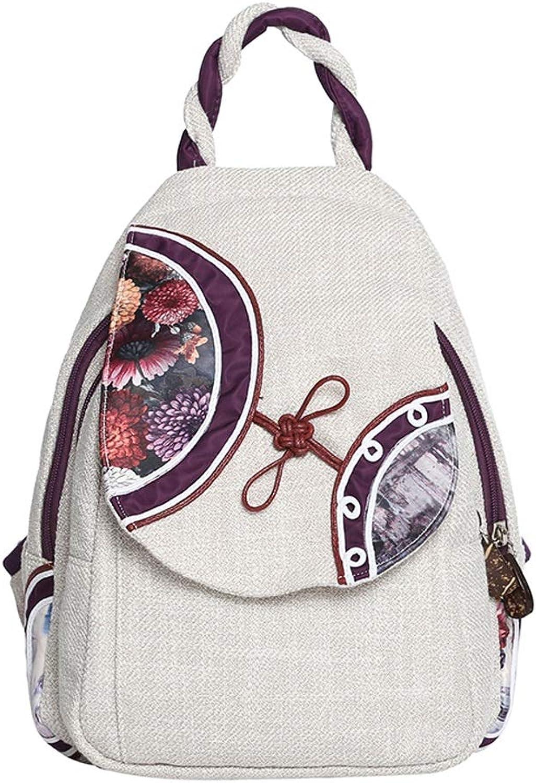 C&S CS Leinen Rucksack Retro Lightwight Reise Urlaub Tasche Damen Single Shoulder Bag