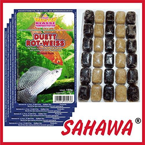 SAHAWA® Frostfutter 5X 100g Blister + 1 Blister Daphnien gratis, verpackt mit Trockeneis -78°C, Mückenlarven (Duett) ROTE und Weisse, Aquarium, Aquaristik, Fischfutter, Frostfutter