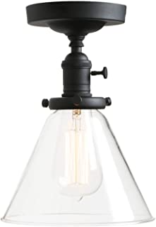 Permo Vintage Industrial Semi Flush Mount Ceiling Light Fixture Pendant Lighting with Funnel Flared Clear Glass Shade (Black)