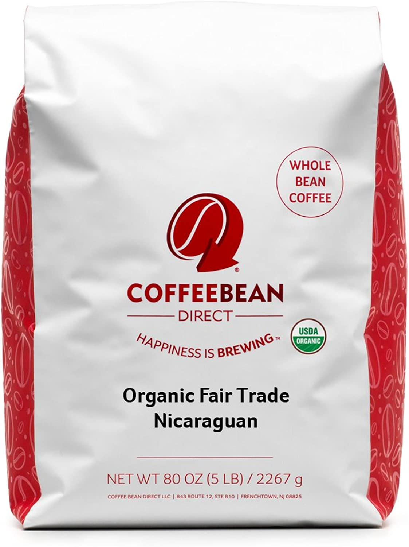 Coffee Bean Direct Nicaraguan, Shade Grown Organic Fair Trade Whole Bean Coffee, 5-Pound Bag