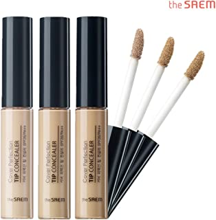 [the SAEM] Cover Perfection Tip Concealer SPF28 PA++ 6.5g - 3 Colors Set/High Adherence Concealer without Clumping and Cracking, Covers Blemishes, Freckles and Dark Circles
