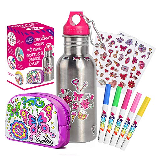 Lehoo Castle Decorate & Personalize Your Own Water Bottle with Stickers, DIY Kits for Girls, Color Your Own Pencil Case with 5 Watercolor Brush Pens, DIY Art and Craft Set for Girl