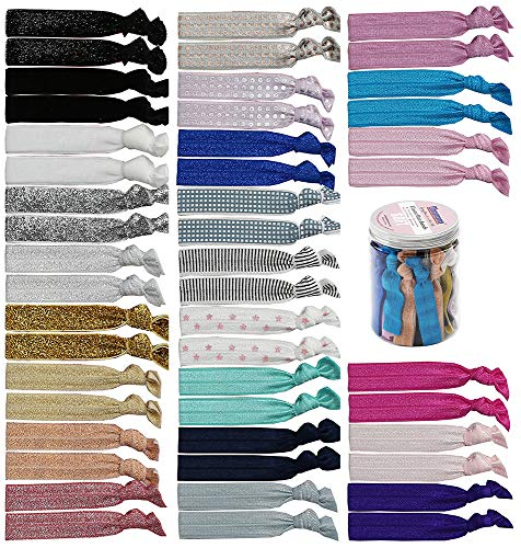 Elastic Hair Ties For Women-No Crease ,48 Pieces Ouchless Hair Bands For Thick Hair No Damage Knotted Ribbon Ponytail Holders Girls Hair Accessories