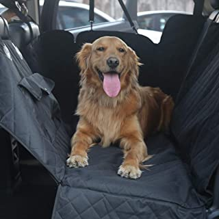 JOJEPET 100% Waterproof Dog Car Seat Covers, Dog Seat Cover with Side Flaps, Pet Seat Cover for Back Seat - Black, Hammock Convertible