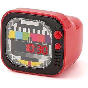 Balvi - TV Despertador Digital de diseño Retro. con la Forma de un TV. Color: Rojo.: Amazon.es: Hogar