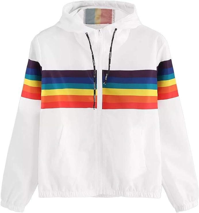 Vintage Workout Clothes – Retro Gym Clothes SweatyRocks Womens Casual Color Block Drawstring Hooded Windbreaker Jacket  AT vintagedancer.com