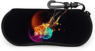 Sunglasses Soft Case,Portable Ultra Light Zipper Abstract Lion Glasses Case With Key Chain