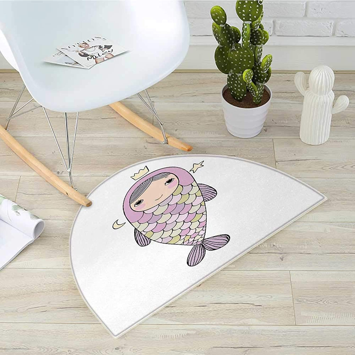 Mermaid Semicircular CushionFantasy Sea Life Mythological Character Girl in Fish Costume with Crown Moon Stars Entry Door Mat H 39.3  xD 59  Multicolor