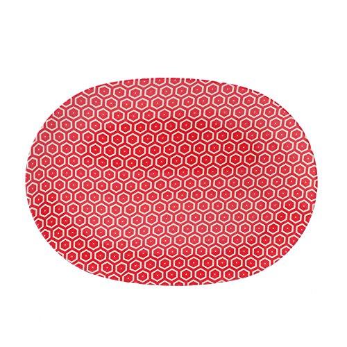 cartaffini – Plat ovale miel, rouge – en mélamine avec motif en tissu véritable (Bees), 34,8 x 24,7 cm
