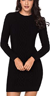 Azokoe Womens Winter Casual Slim Fit Knit Sweater Bodycon Mini Dress