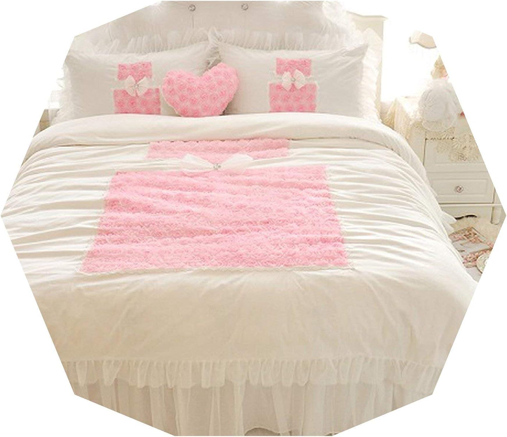 Heat-Tracing-Quilt Cover Housse de Couette avec Housse de Couette et taies d'oreiller en Dentelle de Coton Blanc Rose, Queen Taille 4pcs, 1