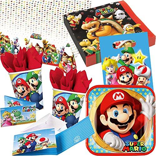104-delig * Super Mario BROS. * Partyset voor kinderverjaardag met 8 kinderen: borden, bekers, servetten, uitnodigingen, feestzakken, tafelkleed, luchtslangen, ballonnen, enz. // themafeest motto verjaardag party Luigi Bowser Toad Peach