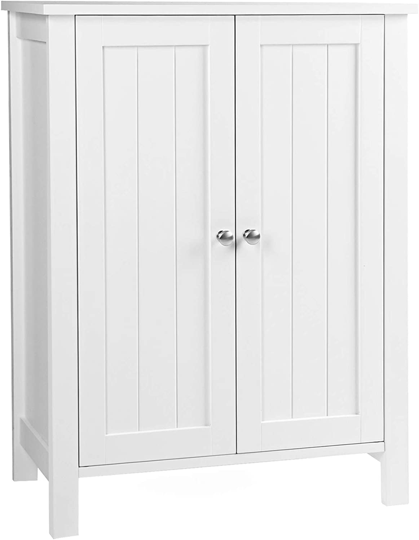"VASAGLE UBCB60W Bathroom Floor Storage Cabinet with Double Door Adjustable Shelf, 23.6""L x 11.8""W x 31.5""H, White"