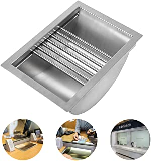 """APWONE Drop-in Deal Tray 304 Stainless Steel Cash Register Tray with Slide Round Tube 13.4"""" Length x 9.5"""" Width x 6"""" Depth for Bank, Hospital, Gas Stations, Cash Register Window, Ticket Window"""