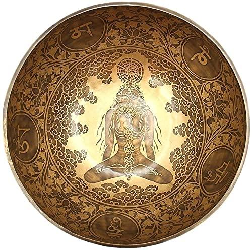 NHH 12 Inches Healing Mantra Carved Meditation Tibetan Singing Bowl, Hand Hammered Singing Bowls with Cushion & Mallet Striker