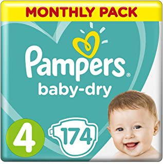 Pampers Baby-Dry Nappies Size 4 Toddler (9kg-14kg), 174 Nappies, Monthly Pack