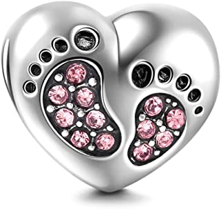 Heart Love Baby Footprints Charms 925 Sterling Silver Jan-Dec Birthstone Crystal Charms Beads for Bracelets