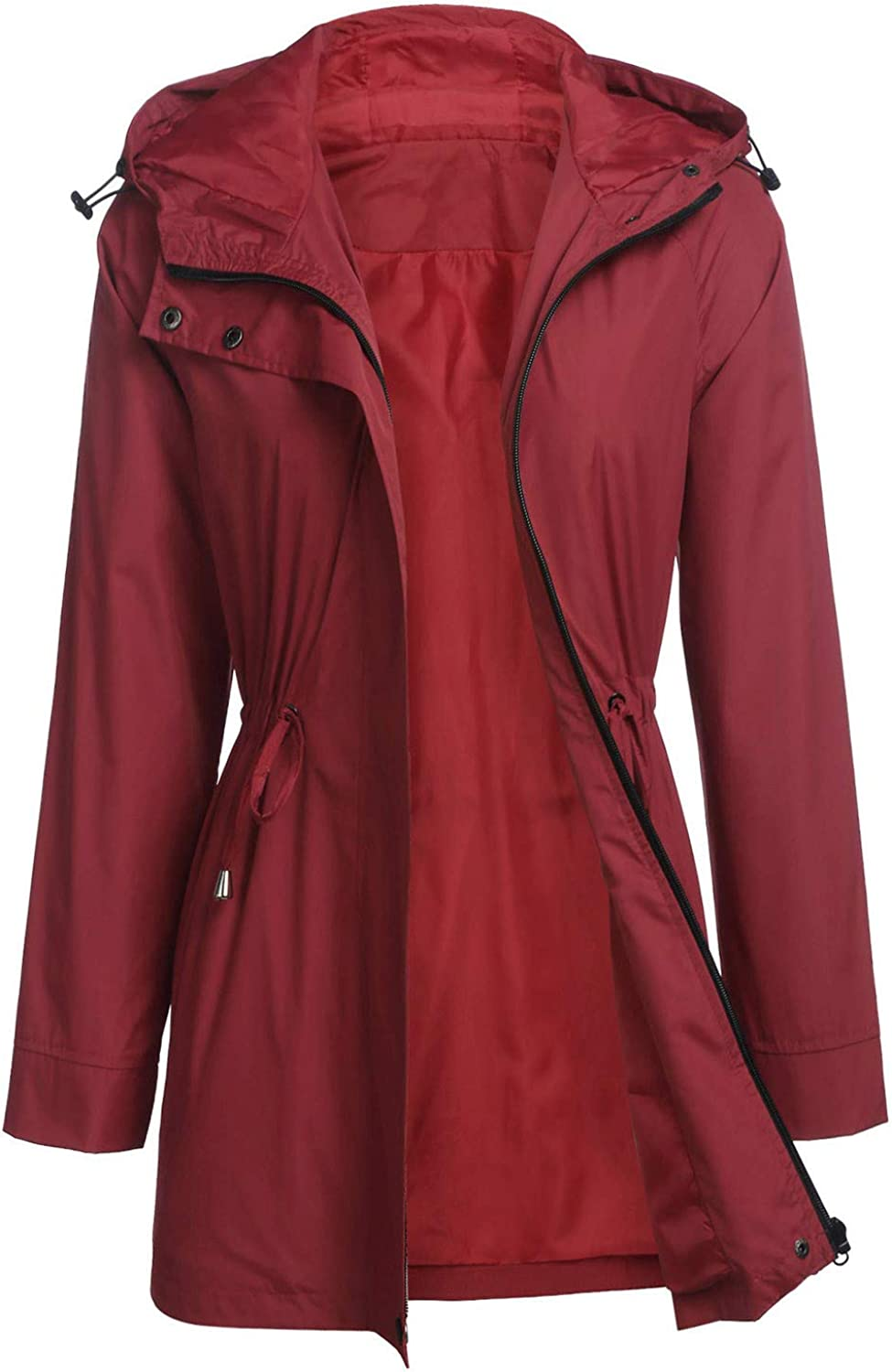 Forwelly Womens Winter Lapel Button Windproof Trench Coat Hooded Jacket Ladies Overcoat Outwear
