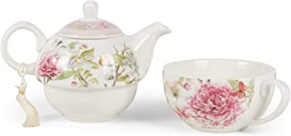 Delton Products 8149-6 Porcelain Tea for One, Pink Peony, 5.8 inch