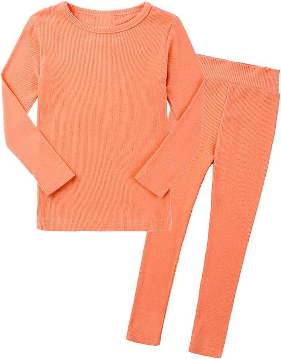 Toddler Girl's Thermal Underwear Long Johns Set Solid Color Pajama-Sets, Orange, 9-12 Months = Tag 80