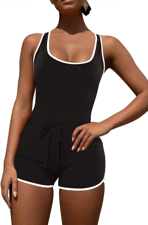 Pink Queen Women's Summer Tank Top Bodycon Shorts Sportswear Romper