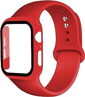 ZAALFC Caja de la Correa + Vidrio + for la Banda de Reloj de Apple iWatch Banda de 40 mm 44 mm 42 mm 38 mm de Silicona Top...