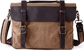 Men's Accessories Office Vintage Style Backpack Handbag Casual Business Briefcase Crossbody Satchel Bag,Black/Fuchsia/Green/Khaki Outdoor Recreation (Color : Khaki)