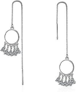 Hot Sale Long Tassel Dream Catcher Earrings For Women 925 Sterling Silver AAAAA Zircon Earrings oorbellen S-E615