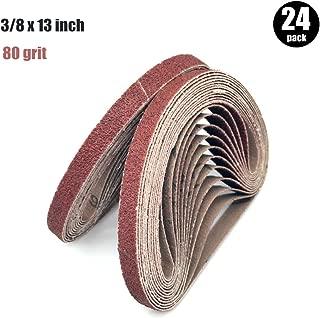 3/8 Inch x 13 Inch Sanding Belt | 80 Grit Aluminum Oxide Sanding Belts | Premium Sandpaper for Air Belt Sander, 24 Pack(3/8x13in,80 grit)