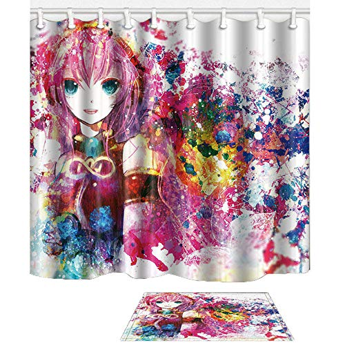 Shocur Watercolor Bathroom Shower Curtain Decor Set, Cute Anime Fantasy Pink Cartoon Music Girl, 69 x 70 Inches Polyester Fabric with 12 Hooks and Non-Slip 15 x 23 Inches Bath Rug