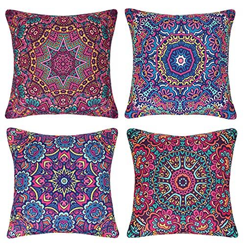 Fundas Cojines Decorativas Mandala Bohemia Floral Funda de Almohada Cojín para Sofá Cama Silla Exterior Flores Hippie Abstracto Cozy Lino 18 x 18 Retro Arte Rojo 45 x 45 cm, Paquete de 4