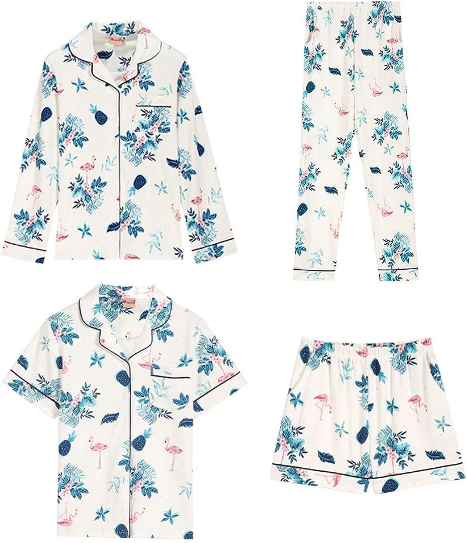 Pajama Sets Four Seasons Pajamas Women's Cotton Long Sleeve Short Sleeve 4 Piece Cardigan Home Service Set (Size   M)