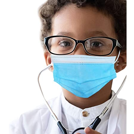 50 pcs of ASTM Level 3 Disposable Kids Face Mask - Made in USA - Certified by Eurofins & Nelson Labs | Designed for Children | For Girls and Boys, School, Outdoor, University (Sky Blue)