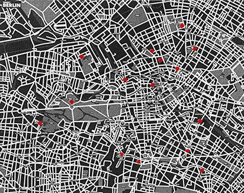 Observatorium Kiefer City–Karte der Stadt Berlin für die Mauer, schwarz
