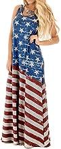 TLOOWY Women Retro USA American Flag 4Th July Sleeveless Tank Long Maxi Dress Summer Party Sundress