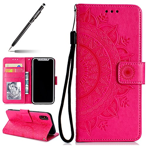 Uposao Kompatibel mit iPhone XS Tasche Leder Flip Case Dünn Ledertasche Flip Hülle Handytasche Schutzhülle Book Cover Handyhülle Klapphülle Kartenfach Magnetverschluss,Rot