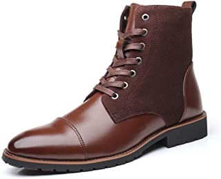 AiHua Huang Ankle Boots for Men Business Boot Lace up PU Leather & Suede Split Joint Burnished Style Pointed Toe Non-Slip (Fleece Lined Optional) (Color : Brown, Size : 9.5 UK)