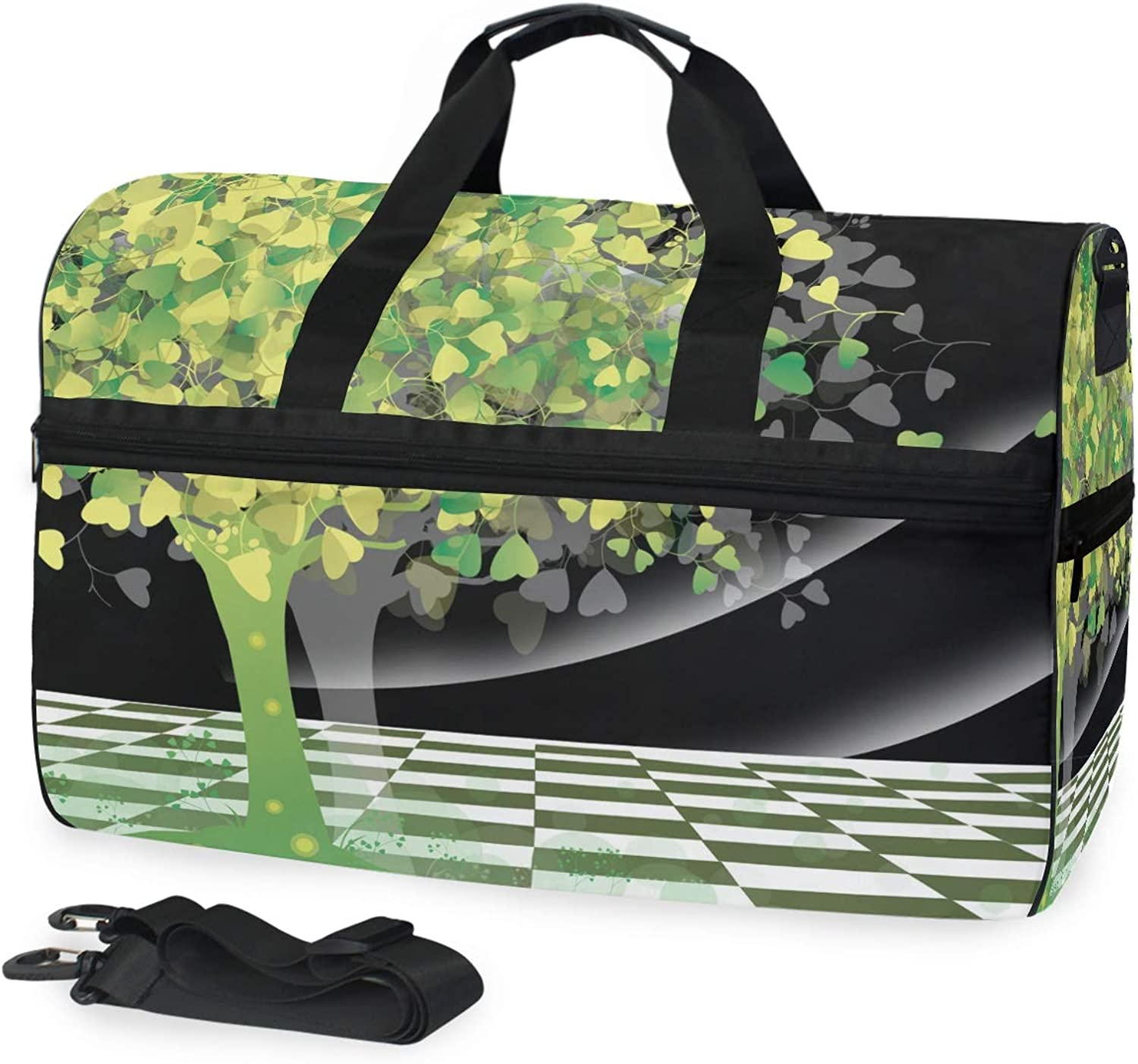 DEZIRO 45L Travel Duffel Bag Abstract Tree Heart Leaves Large Weekender Bag with shoes Compartment